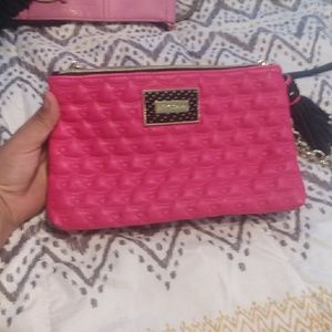 Betty Johnson Black and Pink Quilted Purse
